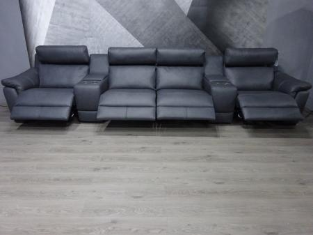 Natuzzi Arezzo high grade leather power reclining cinema sofa