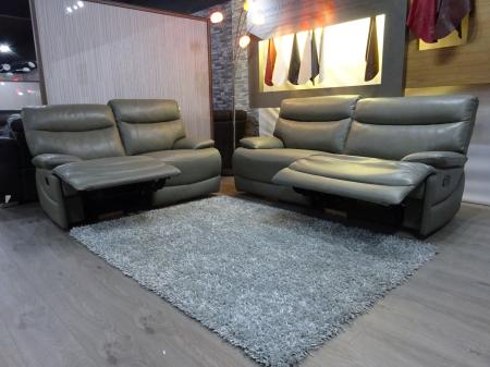 Portland Grey leather 3 & 2 seater manual recliners