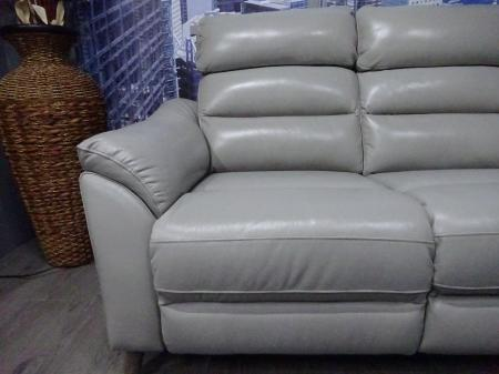 Fairfield full Grey leather power reclining 3 & static 2 seater sofa