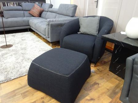 Natuzzi Italia Savoy Black Fabric Chair With Matching Footstool
