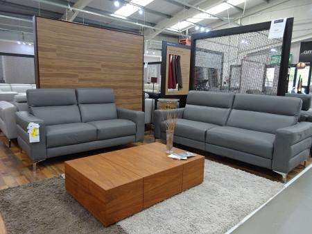 Natuzzi Pelle/Giorgio Grey Leather 3 seater power & 2 seater static