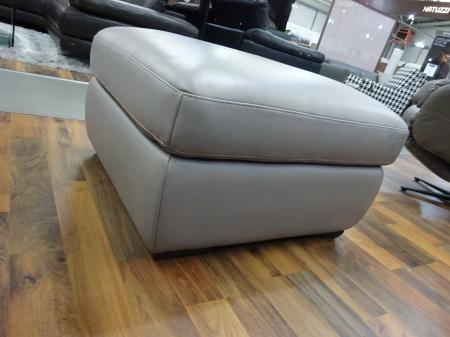 Natuzzi Storage footstool in lovely thick Dove grey Leather-20JK
