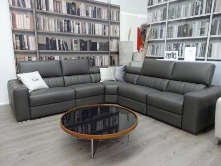 Francoferri Italia Club power reclining corner sofa-Grey thick leather