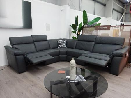 Natuzzi Editions Sensor Grey Leather Power Reclining Corner Sofa