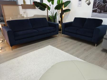 Natuzzi Sollievo soft fabric blue 3 & 2 seater