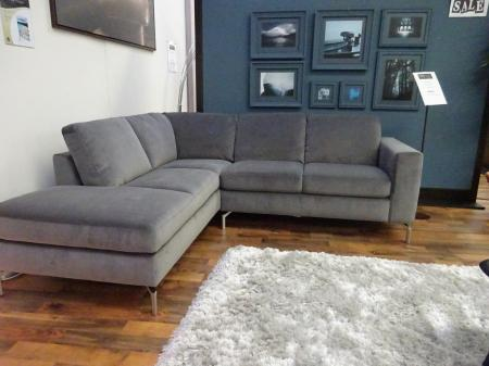 Natuzzi Sollievo lovely soft grey velvety fabric corner sofa