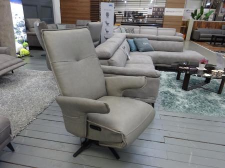 IMG Norway Grey leather swivel power reclining chair
