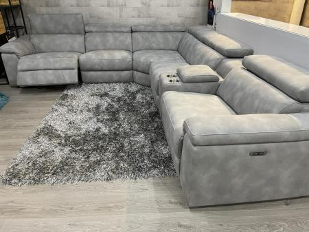 Volante Panama beautiful soft Nubuk fabric power reclining corner sofa
