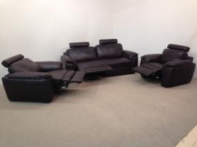 Natuzzi Editions Questo leather power reclining 3 seat, chair & manual