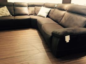 NATUZZI EDITIONS RECLINING LEATER ARM TO ARM CORNER SOFA