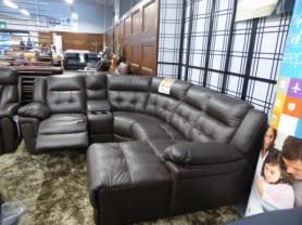 La-z-boy Nashville Brown leather power reclining corner sofa