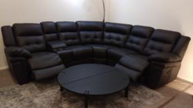 La-z-boy Nashville Black leather power reclining corner sofa