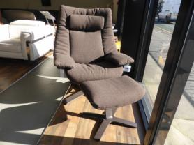 Natuzzi Revive Casual Swivel Chair & Footstool - Brown Fabric