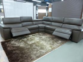 NATUZZI EDITIONS BROWN PANAMA LARGE POWER CORNER SOFA