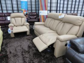 La-z-boy Georgia Leather manual reclining 3 seater & chair