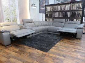NATUZZI PRIVATE LABEL RIMINI ITALIAN LEATHER POWER RECLINING CORNER
