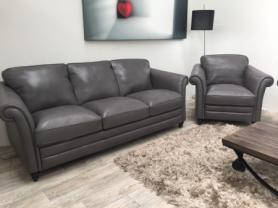 NATUZZI EDITIONS RICCARDO B977 3 SEATER & CHAIR- GREY LEATHER