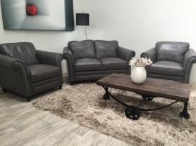 NATUZZI EDITIONS RICCARDO B977 2 SEATER & 2 CHAIRS-GREY LEATHER