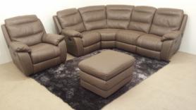 Bari leather Manual reclining corner sofa recliner chair & footstool