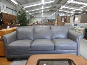 NATUZZI EDITIONS RICCARDO B977 3 SEATER GREY LOVELY LEATHER