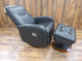 Lazy Boy Nicholas Onyx Black Manual Recliner Chair & Ottoman