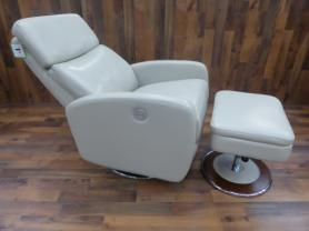 Lazy boy Andrea Ivory Cream Power Recliner Chair And Ottoman