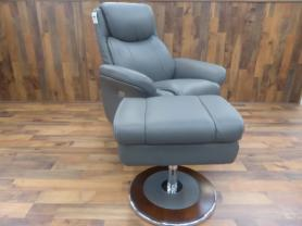 Lazy Boy Antonio Cobblestone Grey Power Recliner Chair & Ottoman