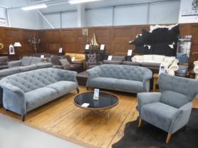 Mizzoni Italia Chesterfield sofas x 2 and matching wing chair