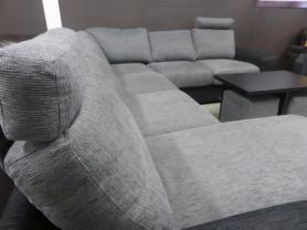 YORKSHIRE LARGE GREY FABRIC SOFA WITH MATCHING TUB CHAIR AND TABLE