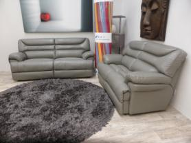 LA-Z-BOY MINNESOTA GREY LEATHER POWER 3 & 3 SEATER