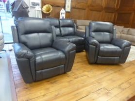 VIOLINO FULL LEATHER MANUAL RECLINING 3 SEAT & 2 CHAIRS