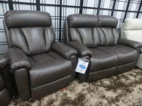 LAZY BOY GEORGIA BROWN  2 SEATER AND RISE AND RECLINER CHAIR