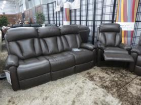 LAZY BOY GEORGIA BROWN 3 SEATER AND RISE AND RECLINER CHAIR