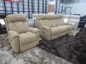 La-z-boy Georgia 3 Seater & chair power recliners in Alpine latte
