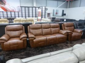 Boston high grade leather 3 & 2 chairs electric recliners/headrest