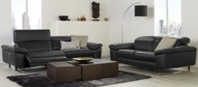 NATUZZI EDITIONS CLAUDIO BLACK LEATHER 3 POWER & 2 SEATER STATIC