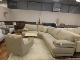 NATUZZI EDITIONS BARTOLO CORNER SUITE THICK LEATHER AND FEATURE CHAIR