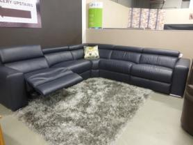 LA-Z-BOY PROTOTYPE BLACK BLUE POWER RECLINING CORNER SOFA