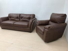 NATUZZI EDITIONS HAVANNA LEATHER 3 SEAT & ROCKING RECLINING CHAIR