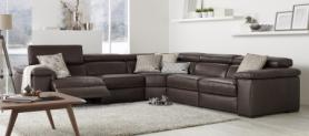 NATUZZI EDITIONS DOMENICO ITALIAN LEATHER POWER RECLINING CORNER