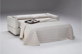 ROSSANA MANUFACTURED BY NATUZZI ITALIAN LEATHER SOFA BED - WHITE