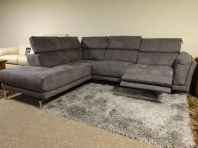 MODERN FABRIC SAN REMO POWER RECLINING SOFA/ADJUSTABLE HEAD