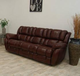 LA-Z-BOY AUGUSTA 3 SEATER STATIC IN BORDEAUX LEATHER