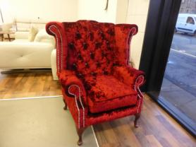 Chesterfield Armchair Queen Anne High Back Wing Chair Rose Velvet