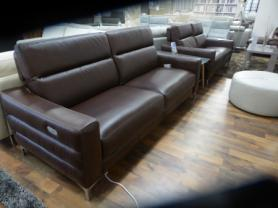 NATUZZI EDITIONS PELLE BROWN LEATHER POWER 3 & 2 STATIC