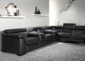 Natuzzi Editions Tomasso Power Reclining leather cinema sofa