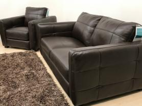 MIZZONI ITALIA CLASSIC BROWN HIGH GRADE LEATHER 3 SEATER & CHAIR