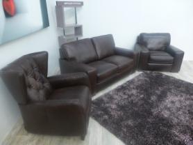NATUZZI EDITIONS CHATSWORTH LEATHER 3 SEAT, CHAIR & WINGBACK CHAIR