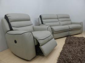 La-Z-Boy Missouri Leather 3 seater & power recliner chair-Grey