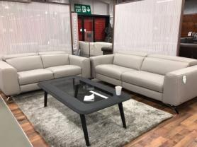 Natuzzi Editions  Luca Grey Leather power Reclining 3 & 2 Seater